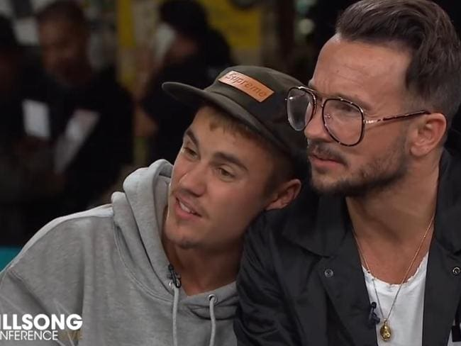 Video still of Justin Bieber during an interview at the annual Sydney Hillsong Church Convention at Sydney Olympic Park. Picture: YouTube/Hillsong Channel