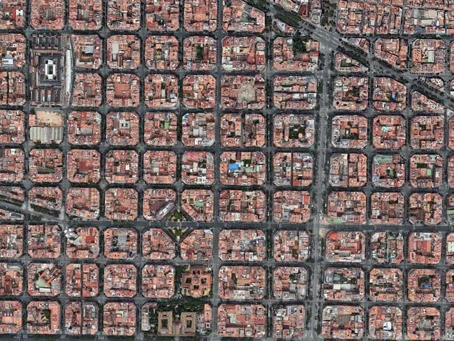 Thousands of rubik's cubes. It's the Eixample District — Barcelona, Spain