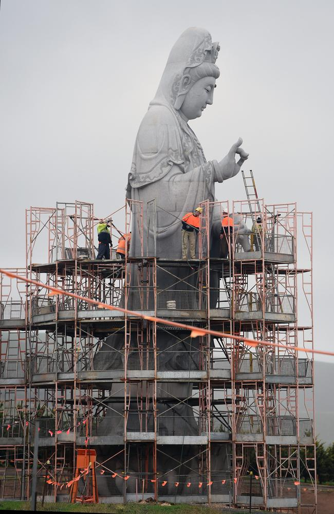The scaffolding is being taken off the giant Buddha statue in Adelaide's south, to reveal a Buddha goddess. Picture: Tom Huntley