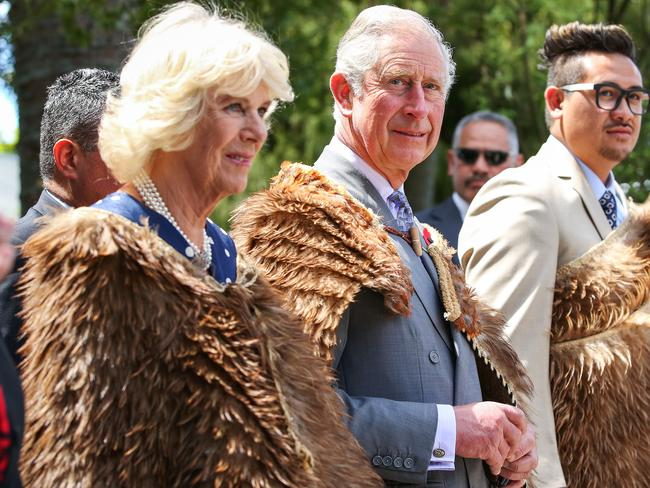 Prince Charles and Duchess Camilla arrive dressed in Korowai (traditional Maori woven cloak) during a visit to Turangawaewae Marae in New Zealand in 2015. Picture: Hagen Hopkins/Getty Images