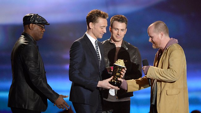 Actors Chris Evans, Samuel L. Jackson, Tom Hiddleston and director Joss Whedon accept the Movie of the Year award for Marvel's The Avengers. Picture: Getty Images