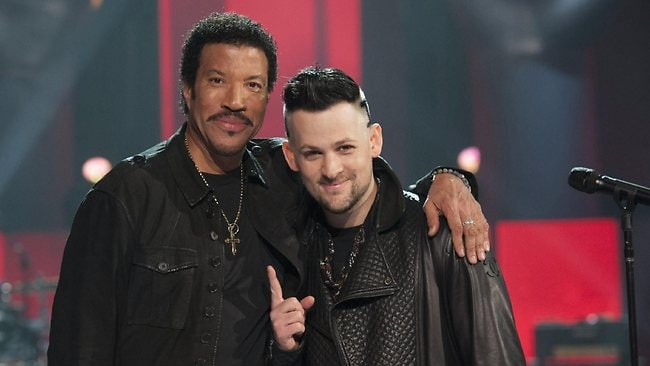 Lionel Richie and Joel Madden on set at The Voice for their performance on the Grand Finale. Picture: Channel Nine