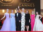 Elle Fanning, Kirsten Dunst, Colin Farrell, Nicole Kidman, Sofia Coppola, Angourie Rice andAddison Riecke pose as they arrive on May 24, 2017 for the screening of the film 'The Beguiled' at the 70th edition of the Cannes Film Festival in Cannes, southern France. Picture: AFP