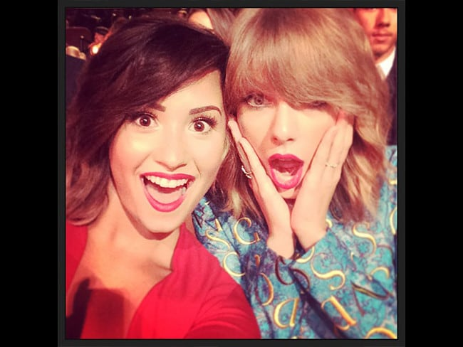 "Behind The Scenes 2014 MTV VMAs... Singer Demi Lovato posts, ""Look who I got to see tonight!!!! [love heart emoji] you @taylorswift #VMAs2014"" Picture: Instagram"
