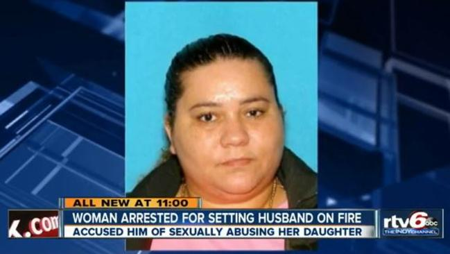 Arrested ... Tatanysha Hedman, 40, who set her husband on fire. Picture: RTV6 ABC