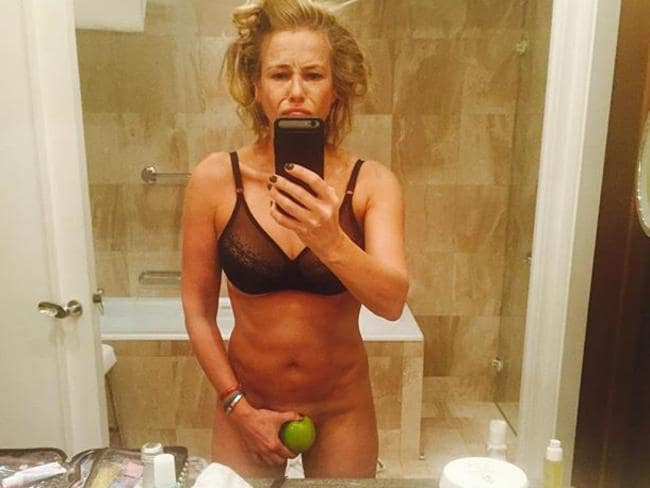 "Another of her near-nude snaps: ""Look at my hair. Something must have happened while I slumbered."" Picture: Instagram"