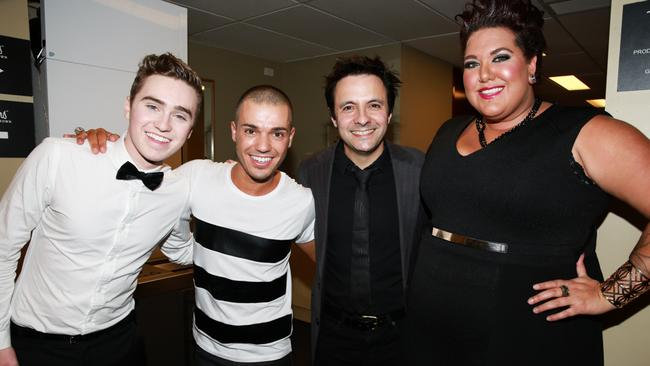 Rising above it ... Anthony Callea with his pals Harrison Craig, John Foreman and Casey Donovan after the first George Michael show. Picture: Anthony Licuria
