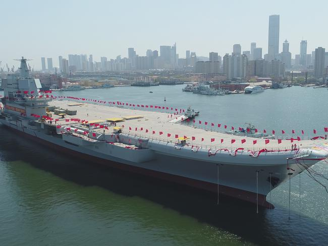 The aircraft carrier is the first China has built entirely on its own. Picture: Li Gang/Xinhua via AP