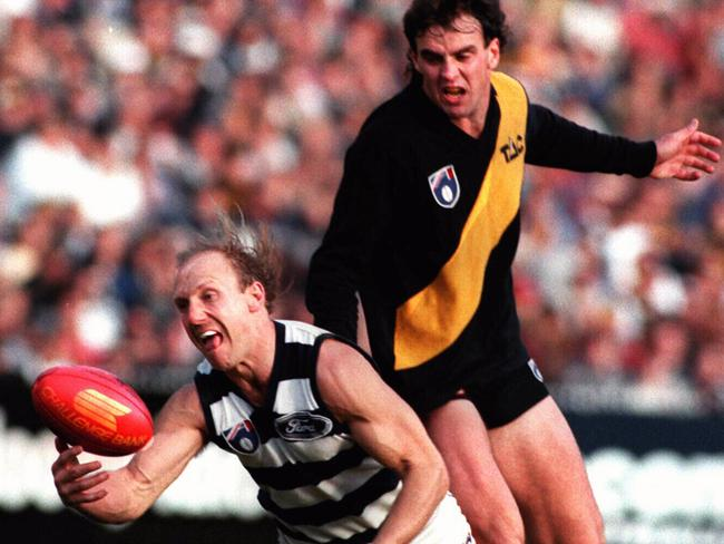 Scott Turner can't stop Gary Ablett. Picture: Graham Crouch