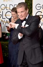 David Hasselhoff arrives at the 73rd annual Golden Globe Awards on Sunday, Jan. 10, 2016, at the Beverly Hilton Hotel in Beverly Hills, Calif. Picture: Jordan Strauss/Invision/AP