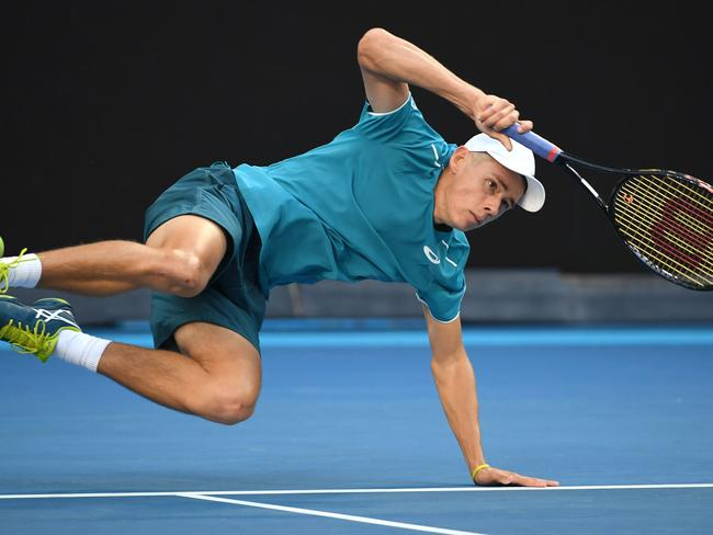 Alex de Minaur took a tumble.