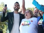 Magda Szubanski celebrates in Prince Alfred Park, Sydney after the 'YES' vote wins the postal plebiscite on whether same sex couples should be allowed to marry. Picture: Richard Milnes / MEGA