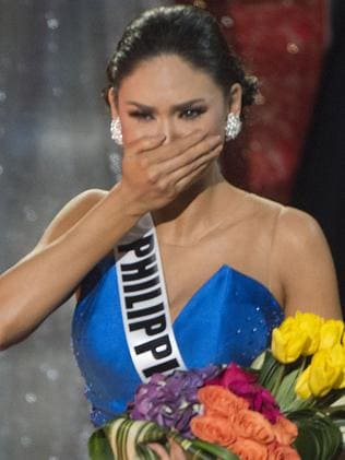 Shock ... Miss Philippines Pia Alonzo Wurtzbach reacts at the announcement establishing her as Miss Universe 2015. Picture: AFP