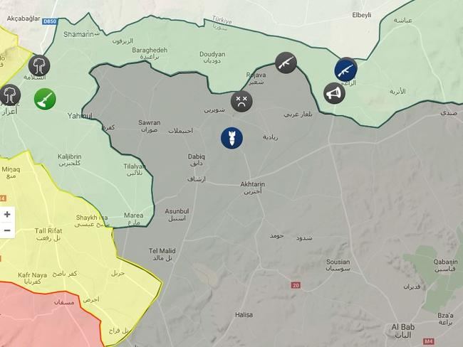 The light green of US/Turkish controlled land wraps around the town of Dabiq from the west, with Syrian/Russian controlled space in Yellow and Syrian Rebels in red. The icons represent the sites of explosions, rocket attacks, artillery attack and troop clashes during the past week. Source: isis.liveuamap.com
