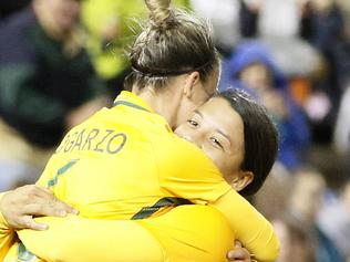Sam Kerr of the Matildas celebrates her second half goal with team mates during the second match of the two-match International Series between the Matildas and Brazil at McDonald Jones Stadium, Newcastle, Tuesday, September 19, 2017. (AAP Image/Darren Pateman) NO ARCHIVING, EDITORIAL USE ONLY