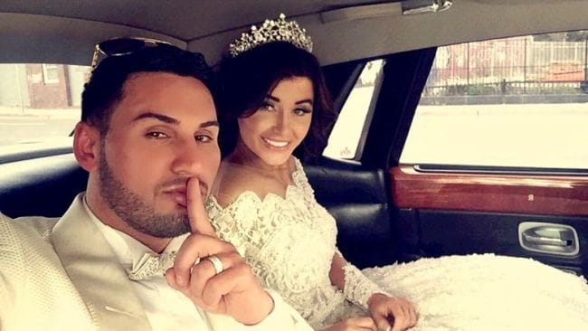 Salim Mehajer and Aysha on their wedding day in Lidcombe. Photo: Supplied