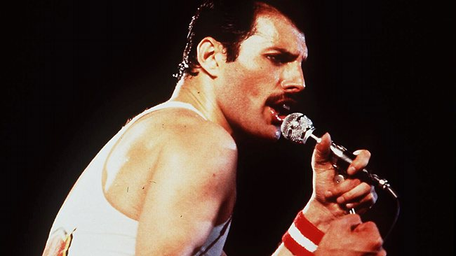 Freddie Mercury, the late lead singer of English rock band Queen.