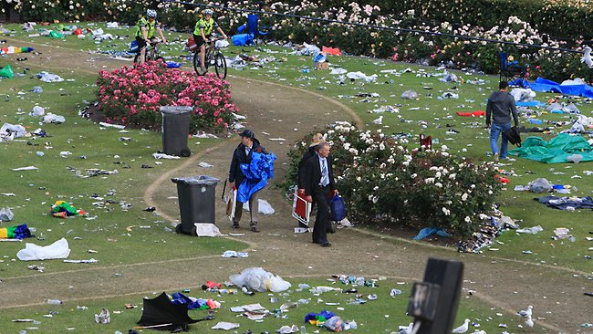 The long process of cleaning up after the Melbourne Cup begins.