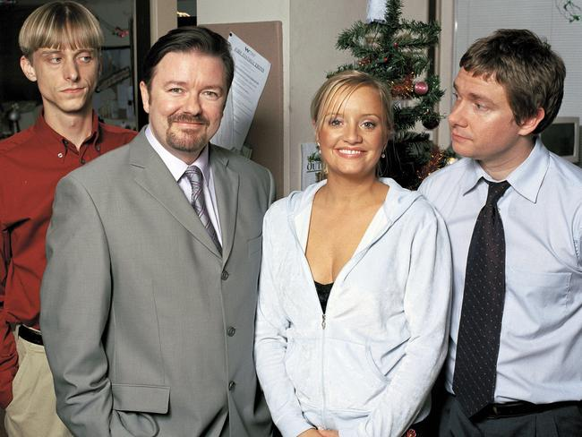 Martin Freeman, right, got his big break in The Office alongside MacKenzie Crook, Ricky Gervais and Lucy Davis. Picture: Supplied