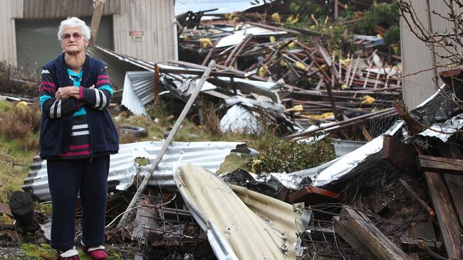 Lucky escape ... Lauris Cumming, 88, surveys the damage from her back yard. Surprisingly her 100 year old house was not damaged at Round Hill, Burnie.
