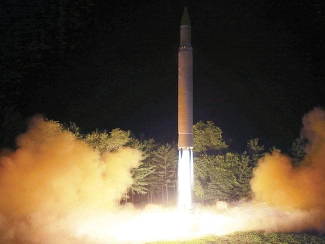 North Korean has sparked global condemnation with its recent intercontinental ballistic missile tests. Picture: Korean Central News Agency/Korea News Service/AP