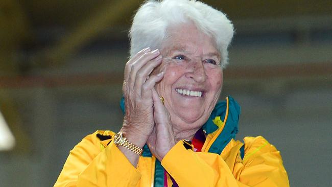 Dawn Fraser cheers on the Aussies at the London Olympics.