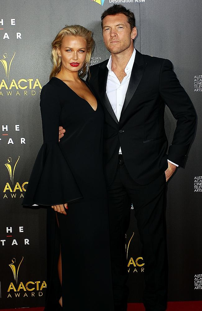Lara Bingle and Sam Worthington arrive at the 3rd Annual AACTA Awards Ceremony at The Star on January 30, 2014 in Sydney, Australia. (Photo by Lisa Maree Williams/Getty Images)