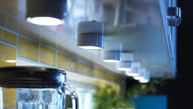 Task lighting from Ikea can light up a kitchen.