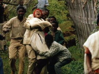 Dorze bachelors stage a kidnapping and carry off a reluctant bride in Ethiopia. Picture: James A. Sugar/National Geographic/Getty ImagesSource:Supplied