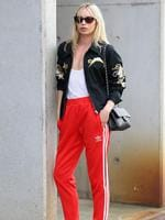 Alexandra Spencer wearing an Adidas tracksuit and Chanel handbag arrives at Mercedes-Benz Fashion Week Australia 2015 at Carriageworks on April 13, 2015 in Sydney, Australia. Picture: Getty