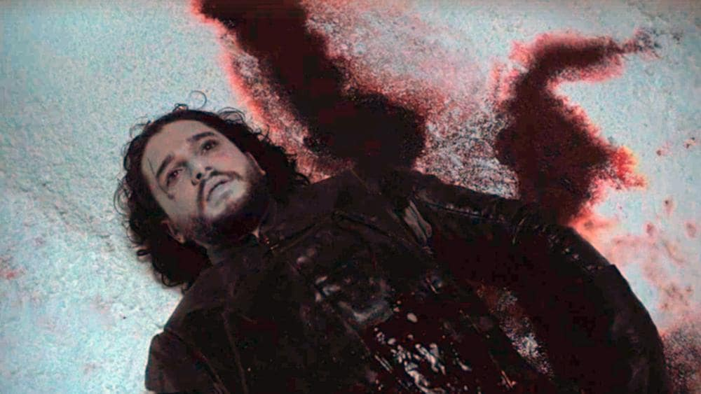 Jon Snow after being knifed by members of the Black Watch. Picture: HBO