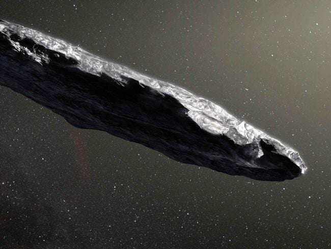 """This handout photo released by the European Southern Observatory on November 20, 2017 shows an artist's impression of the first interstellar asteroid: Oumuamua.  This unique object was discovered on 19 October 2017 by the Pan-STARRS 1 telescope in Hawaii. Subsequent observations from ESO's Very Large Telescope in Chile and other observatories around the world show that it was travelling through space for millions of years before its chance encounter with our star system. `Oumuamuaseems to be a dark red highly-elongated metallic or rocky object, about 400 metres long, and is unlike anything normally found in the Solar System. / AFP PHOTO / European Southern Observatory / M. Kornmesser / RESTRICTED TO EDITORIAL USE - MANDATORY CREDIT """"AFP PHOTO / EUROPEAN SOUTHERN OBSERVATORY / M. Kornmesser"""" - NO MARKETING NO ADVERTISING CAMPAIGNS - DISTRIBUTED AS A SERVICE TO CLIENTS"""