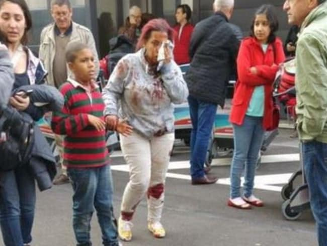 Distraught passengers in the aftermath of the explosion at the airport. Picture: Twitter