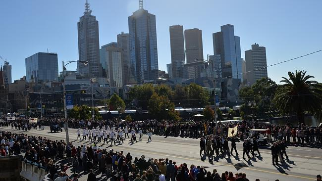 The Anzac Day march to the Shrine of Remembrance. Picture: Nicole Garmston