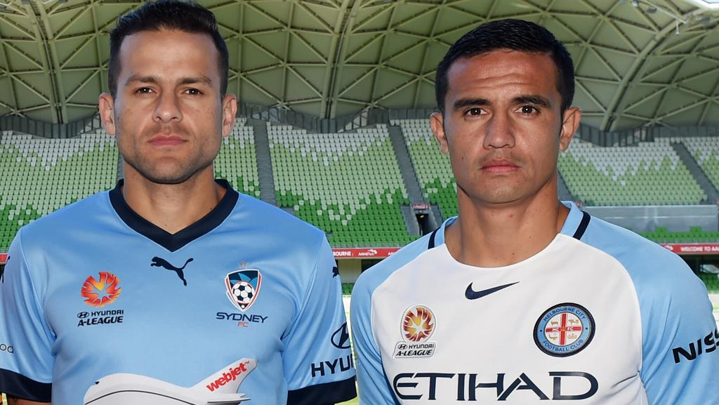 Star strikers Bobo and Tim Cahill will look to play significant roles for their clubs in the FFA Cup final tilt between Sydney FC and Melbourne City. Picture: AAP