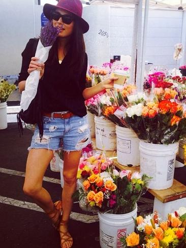 Model Jessica Gomes heads down to the Farmers market in Los Angeles. Picture: Instagram