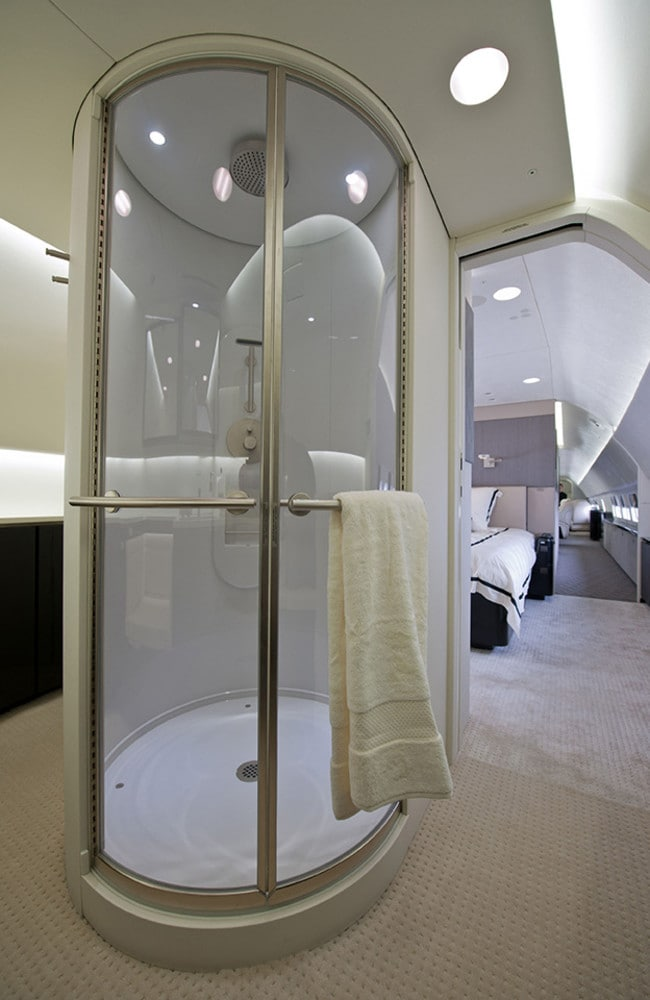 A shower built on a Boeing 737 jet. Picture: Boeing