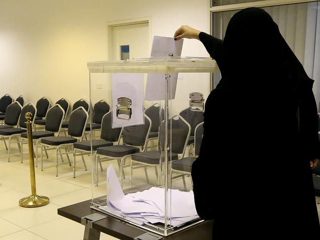 Historic ... While Saudi women can now vote they still can't drive a car. Picture: AP/Aya Batrawy