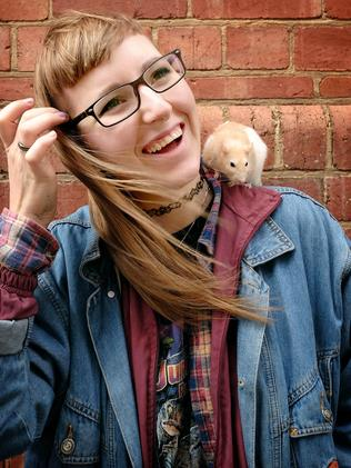 Artist Daria Healy-Koljanin with her pet rat Mico. Picture: Mike Burton