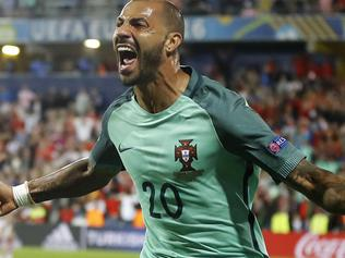 Portugal's Ricardo Quaresma celebrates after scoring during the Euro 2016 round of 16 soccer match between Croatia and Portugal at the Bollaert stadium in Lens, France, Saturday, June 25, 2016. (AP Photo/Frank Augstein)