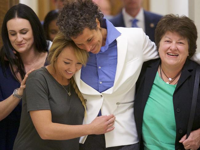 Bill Cosby accuser Andrea Constand (C) reacts after the guilty on all counts verdict. Picture: Getty