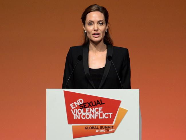 Speaking out ... Angelina Jolie speaks during a plenary session on the third day of the Global Summit to End Sexual Violence in Conflict.