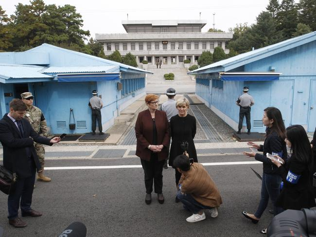 Australian Defence Minister Marise Payne, centre left, and Foreign Minister Julie Bishop hold a press conference during their visit to the border village of Panmunjom in Paju, South Korea. Picture: AP