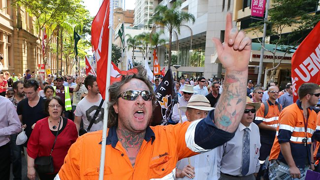 ANGER: Public Servants march on Parliament to protest massive job cuts. Picture: Darren England