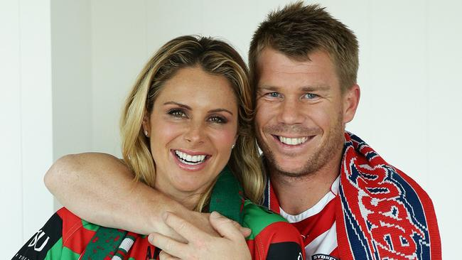 Candice Warner Candice Falzon and David Warner fight for NRL crowing