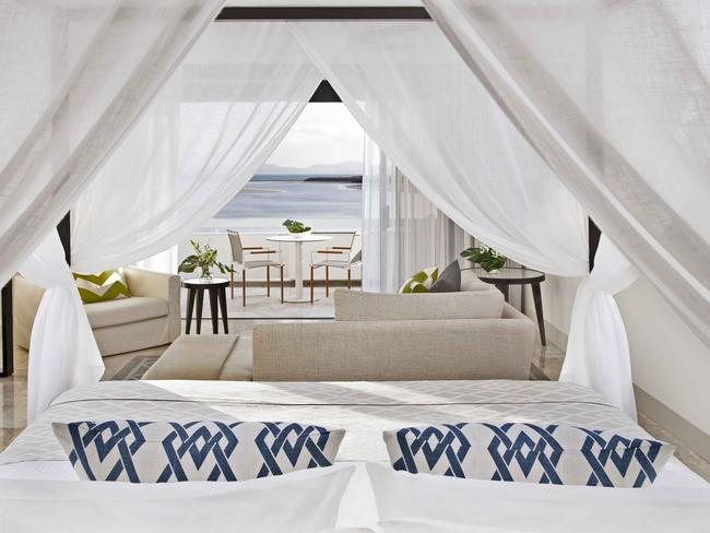 Inside one of the stunning resort's guest rooms which has ocean views. Picture: Tony Phillips