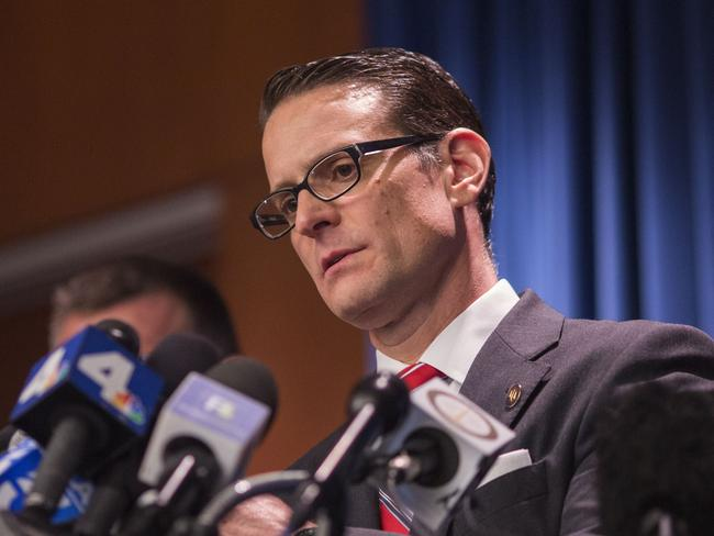Riverside County district attorney Mike Hestrin lays out the case against the Turpin parents to the media. Picture: David McNew/Getty Images/AFP