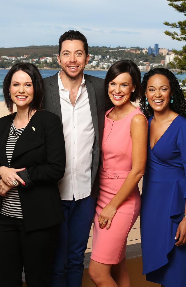 Happier times ... L-R Natasha Exelby, James Mathison, Natarsha Belling and Nuala Hafner pictured at Queenscliff Surf Life Saving Club where the show was filmed.
