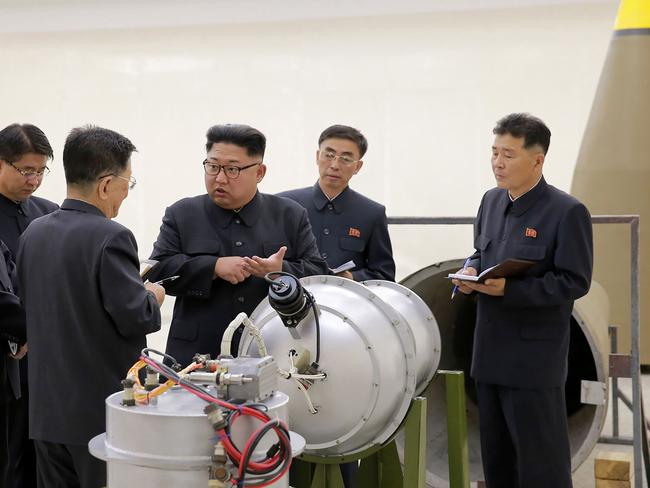 North Korea has developed a hydrogen bomb which can be loaded into the country's new intercontinental ballistic missile, the official Korean Central News Agency has claimed. Picture: KCNA/AFP