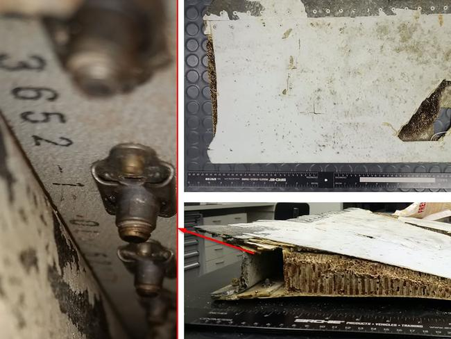 Australian air crash investigators have confirmed the aircraft part, a trailing edge splice strap from a Boeing 777 left outboard flap, is from MH370. Picture: AAP Image/Australian Transport Safety BureauSource:AAP